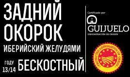Иберийский задний окорок выкормленного желудями кабана бескостный D.O.P Guijuelo, поступил в продажу в 13/14 году